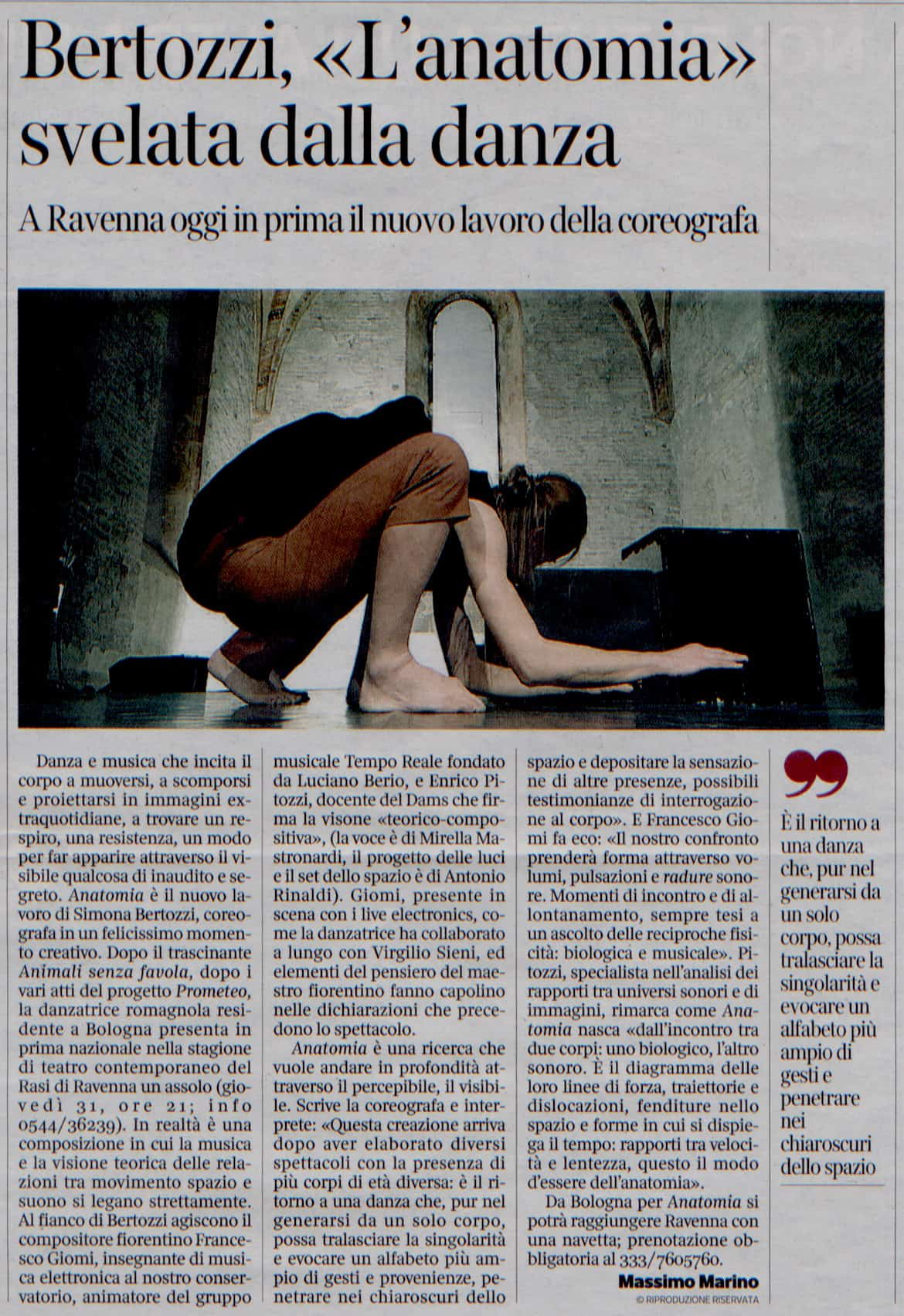 "Anatomia ""svelata"" da Massimo Marino"